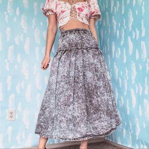 Vintage 80's Acid Wash Drop Waist Denim Midi Skirt